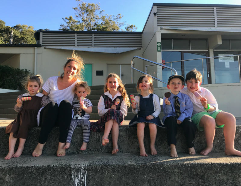 Elysia DeCelis, her four children and Noah and Evie Byrne