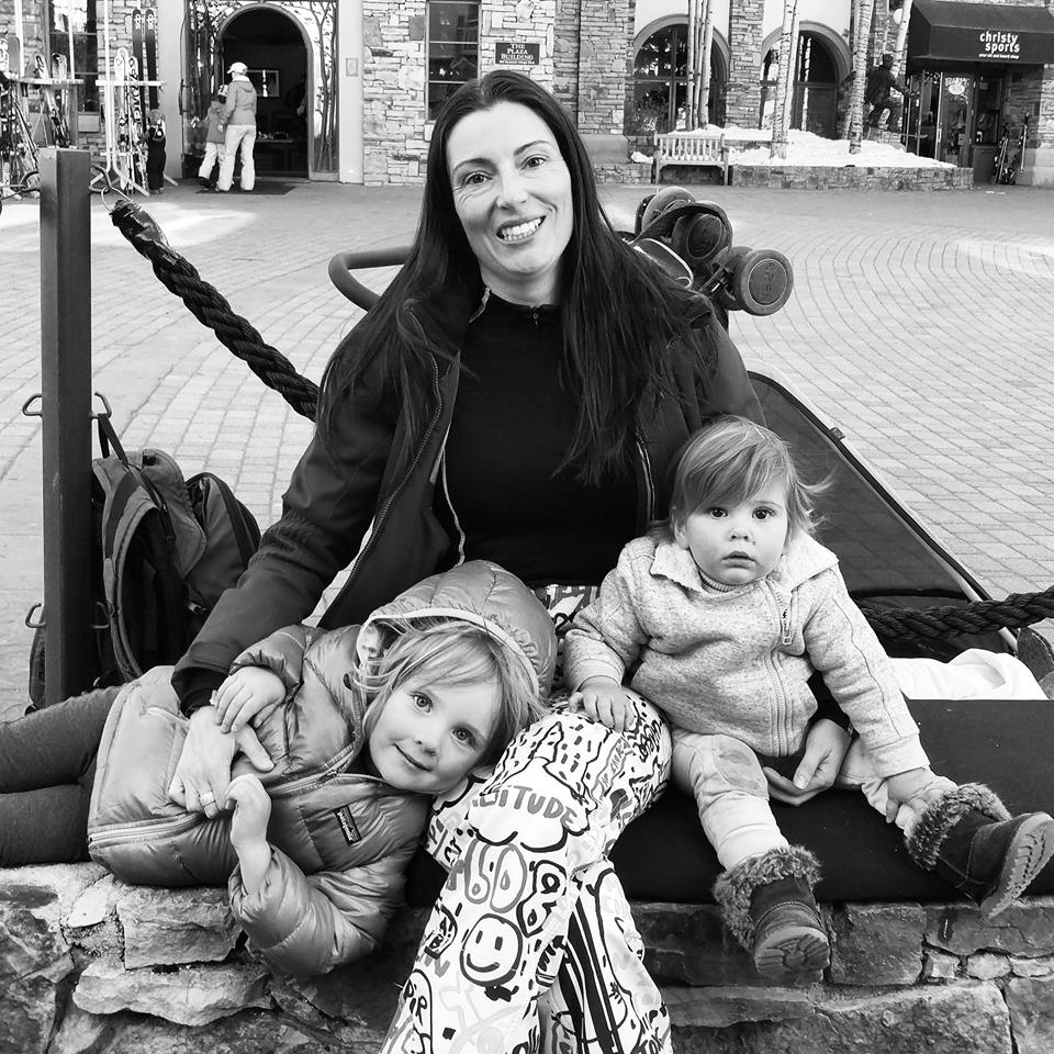 Louise DeCelis and Noah and Evie Byrne in Telluride Colorado, Mountain Village.