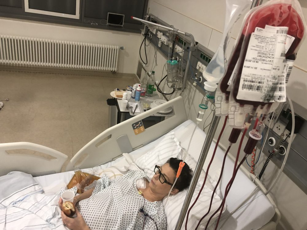 Louise getting a blood transfusion in the Frankfurt University Hospital
