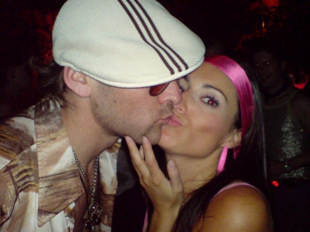 louise decelis and dominic byrne at a dress up party